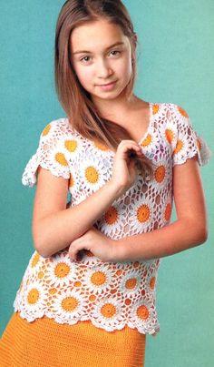 Комплект крючком для девочки 10-12 лет | Вязание детям