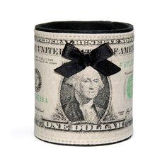 Manchette One Dollar en cuir et sérigraphie Satine Création