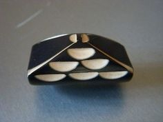 "Vntg Art Deco Chunky/Carved Black w/Cream BAKELITE Pyramid  BUTTON - 1 1/4""  FAB"
