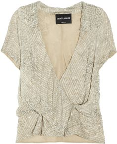 Armani Bead and Sequin embellished Silk Wrap Top