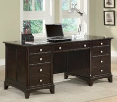 """HOME OFFICE FORMAL DESK CREDENZA HUTCH COMPUTER 5 PIECE SET by Coaster Home Furnishings. $959.00. DESCRIPTION:The Garson home office group features storage drawers andfile cabinets to keep you organized and productive. Finishedin a rich cappuccino and brushed nickel drawer pulls. Drawersfeature smooth drawer glides, hutch comes with task light andwire management. DIMENSIONS:Desk: 30.00""""W x 66.00""""D x 30.00"""" HeightCredenza: 24.00""""W x 66.00""""D x 30.00"""" HeightHutch: 14.00""""W x 68.00""""..."""