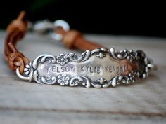 silver flatware repurposed onto leather bracelet