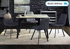 Stylish and contemporary modern industrial dining set includes granite-effect and metal table with 4 faux leather chairs. Find it at Furniture Village. 4 Dining Chairs, Square Dining Tables, Wooden Dining Tables, Extendable Dining Table, Dining Room Furniture, Dining Room Table, Modern Furniture, Compact Dining Table, Dining Set With Bench