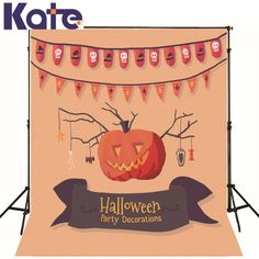 Photo Background Lantern Pumpkins Skull  Photography Background Halloween Hat Flag Branch Candy Background Customize Backdrop #Affiliate