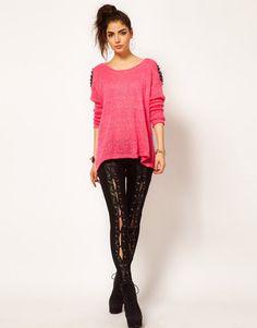 ShopStyle: Reverse Lace Up Front Leggings £42