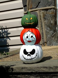 Nightmare Before Christmas 3 Tier Pumpkin Totem.  $25.00 on etsy, but I may even be able to make this.