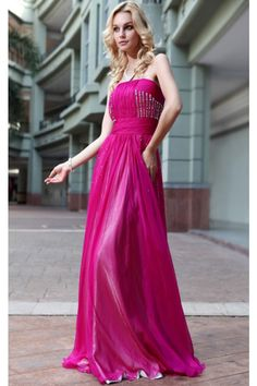 Fuchsia Tencel Chiffon Evening Dress Pleated & Beaded(2)