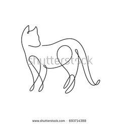 """Résultat de recherche d'images pour """"one line drawing cat"""""""