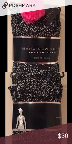 ❄️Marc New York Hat and Scarf Set❄️ Marc New York by Andrew Marc New hat and scarf set.  Cute knit hat with fun bright pink Pom-Pom.  Pink poms also at each end of scarf.  Black and white knit.  This is brand new on the hanger and is as shown. Andrew Marc Accessories Scarves & Wraps