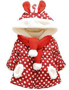DD-CM Baby Girls Rabbit Dot Printed Hoodie Outerwear Winter Warm Jacket Coat