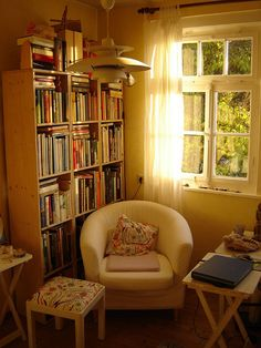 """"" Autumn Afternoon Sun """" cozy library nook for the middle room """" Home Library Rooms, Cozy Library, Home Libraries, Library Corner, Cozy Reading Corners, Book Nooks, Reading Nooks, Cozy Reading Rooms, Cozy Nook"