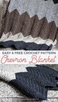 Free Crochet Chevron Blanket Pattern by Rescued Paw Designs - Simple chevron crochet blanket pattern! Chevron Crochet Blanket Pattern, Crochet Ripple Blanket, Crochet Baby Blanket Free Pattern, Afghan Crochet Patterns, Crochet Blankets, Free Crochet, Crochet 101, Crochet Afgans, Knitting Patterns