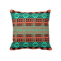 Turquoise and Coral Aztec Inspired Pillow