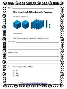 his Common Core Aligned Place Value Through Billions Assessment Pack is a complete formative and summative assessment package, ready to use, to assess your students understanding during your instruction of place value. This product is appropriate for fourth and fifth grade students (as well as for enrichment for lower grades or intervention for higher grade levels). This product is designed to assess CCSS standards 4.NBT.1, 4.NBT.2, and 5.NBT.1. $