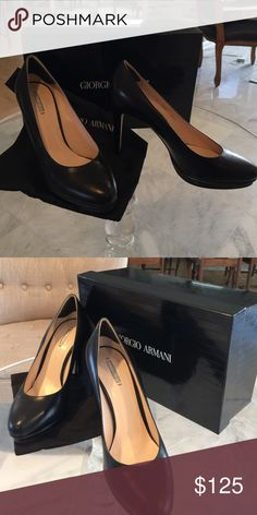 "Black leather 4"" shoes. Black 4"" Giorgio Armani shoes. Original box and shoe bag(s) included. Never worn. Giorgio Armani Shoes"