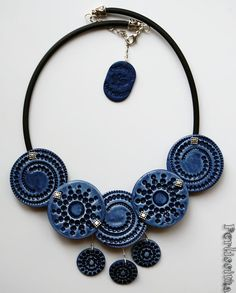 Blue Jeans Necklace...made with polymer clay <3