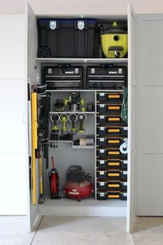 Garage Tool Storage and Organization Ideas Go ahead and drool, dream, and desire a place where all your tools are organized and easily accessible . then go out and create one! Sharing our garage tool storage and organization ideas to get you started. Garage Tool Storage, Garage Shelving, Workshop Storage, Garage Shelf, Garage Tools, Garage Racking, Workshop Ideas, Garage Workbench, Garage Cabinets Diy
