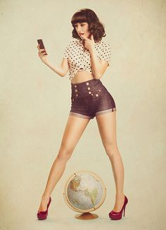 There's something that's not only classy, but sexy about the style of pin up photos. Phlearn explains the concept of their tech inspired retro pin up photoshoot. Rockabilly Style, Rockabilly Fashion, Retro Fashion, Vintage Fashion, Retro Pin Up, Poses Pin Up, Pin Up Girls, Pin Up Fotos, Pin Up Fotografie