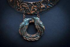 polymer clay necklace Huginn ok Muninn от EllenRococoArt на Etsy