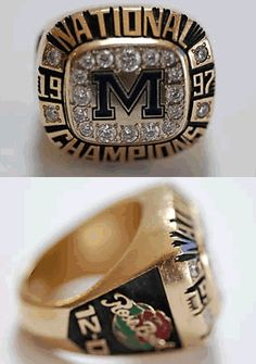 1997 Michigan Wolverines National Championship and Rose Bowl Ring. Just like dads U Of M Football, College Football Teams, Ncaa College, Alabama Football, American Football, Michigan Athletics, Michigan Wolverines Football, Colleges In Michigan, University Of Michigan