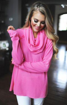 8dbf0350897265 Bright Pink Soft Cowl Neck Top - Dottie Couture Boutique