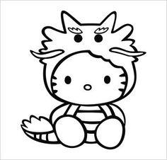 Cute Dragon Hello Kitty Vinyl Die Cut Decal Sticker 5.00″ Black