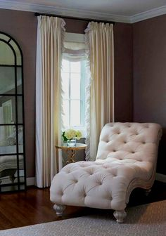 For master bedroom _ Elegant bedroom features a linen tufted French chaise lounge next to a brass quatrefoil table, . Small Master Bedroom, Master Bedroom Design, Home Bedroom, Bedroom Furniture, Bedroom Corner, Bedroom Ideas, Corner Couch, Bedroom Couch, Chaise Lounge Bedroom