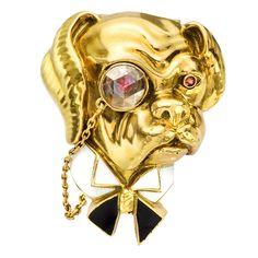 1stdibs.com | VAN CLEEF & ARPELS Gold, Enamel & Diamond Bulldog Pin