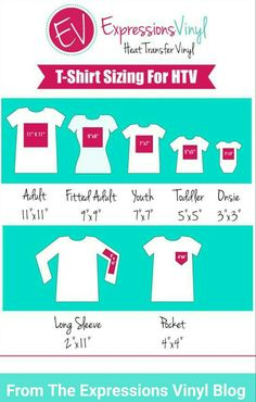 Expressions sizing chart for htv on t-shirts