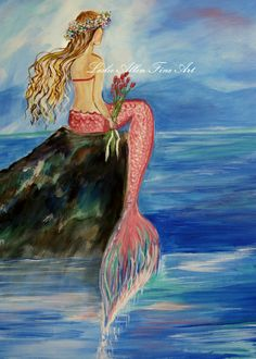 Mermaid Mermaids Mermaid Wishes  Seascape by LeslieAllenFineArt, $8.00