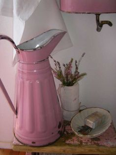 Old pink vintage pitcher