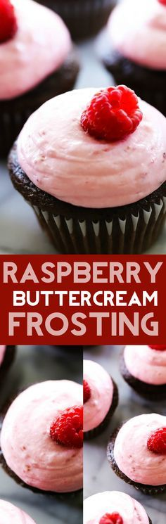 Raspberry Buttercream Frosting - A creamy and delicious frosting that is absolutely heavenly! It is made with fresh raspberries and the flavor is wonderful!