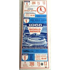 Louis Cardinals Bob Gibson Autographed and Inscribed 1968 World Series x Mega Ticket Denny Mclain, Detroit Tigers Game, American League, St Louis Cardinals, World Series, Ticket, Bob, Birthday, Party