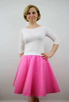 A personal favourite from my Etsy shop https://www.etsy.com/listing/508979402/pink-polka-dot-tulle-skirt-for-women