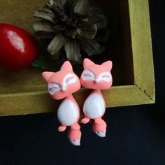Peach Cute Fox Stud Earrings – D'aww Factory
