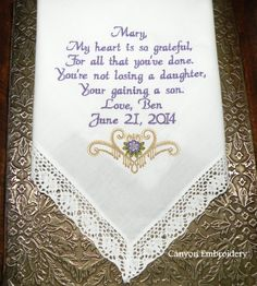 ... Mother in law, Wedding handkerchief and Mother wedding gifts