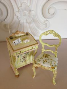 Miniature Desk and Chair set by maisonminis on Etsy,