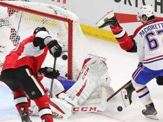 Jean Levac/The Ottawa Citizen. April Milan Michalek of the Ottawa Senators tries to get the rebound from Carey Price of the Montreal Canadiens as Bobby Ryan is hit by Max Pacioretty during second period action. Bobby Ryan, Max Pacioretty, Stanley Cup Playoffs, Game 4, April 22, Montreal Canadiens, Rebounding, Ottawa, Citizen
