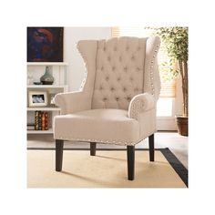 Baxton Studio Patterson Wingback Nailhead Tufted Accent Chair - Beige Linen for sale online Elegant Home Decor, Elegant Homes, Find Furniture, Living Furniture, Header, Winged Armchair, Green Armchair, Upholstered Accent Chairs, Baxton Studio