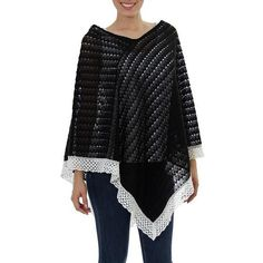 NOVICA Knit 100% Cotton Poncho Black Champagne Mexico ($75) ❤ liked on Polyvore featuring outerwear, black, clothing & accessories, ponchos, knit poncho, novica, lightweight poncho, cotton poncho and style poncho
