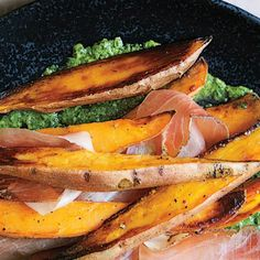 Roasted Sweet Potatoes with Speck and Chimichurri Recipe | Bon Appétit
