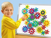 Turn & Learn Magnetic Gears:  If I can borrow a few sets of gear toys I can hang them on the walls in frames as decorations.