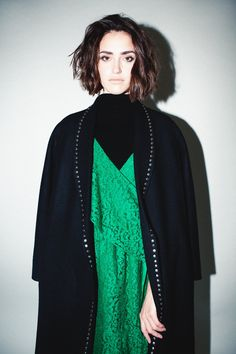 Robert Rodriguez Studio Long Coat with Studs Fall 2018, Coats For Women, Wool Blend, Studs, Sari, Model, How To Wear, Shopping, Collection