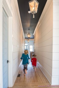 Our 1905 Restoration Home Tour Reveal. Hallway Ceiling, Dark Ceiling, Shiplap Ceiling, Blue Ceilings, Colored Ceiling, Hallways, Blue Ceiling Paint, Hallway Walls, Upstairs Hallway