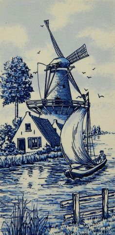 Delft tile windmill hand painted holland sailboat fishing seagulls 4 x 8 Blue And White China, Blue China, Love Blue, Red And White, Delft Tiles, Blue Tiles, Chinoiserie, Gravure Illustration, China Painting