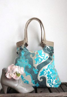 Turquoise blue damask tote bag with burlap Winter by madebynanna, $67.00