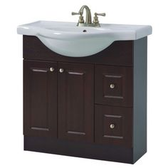 x 2 Door 2 Drawer Espresso Vanity with China Top Upstairs Bathrooms, Bath Fixtures, Cottage Interiors, Home Hardware, Bathroom Vanities, Basement Ideas, Plumbing, Espresso, Drawers