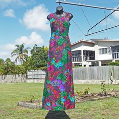 60s Hawaiian Vintage Maxi Dress Size S M by VintageSquirrels, $89.95