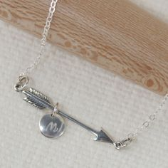 Sterling Silver Arrow with Initial necklace by JasmineGalleryNC