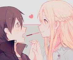 """Asuna: """"Pocky..?"""" Kirito: """"Eh ?! Uhm.. Y.. Yes *crunch* ///♥️"""" #SwordArtOnline"""